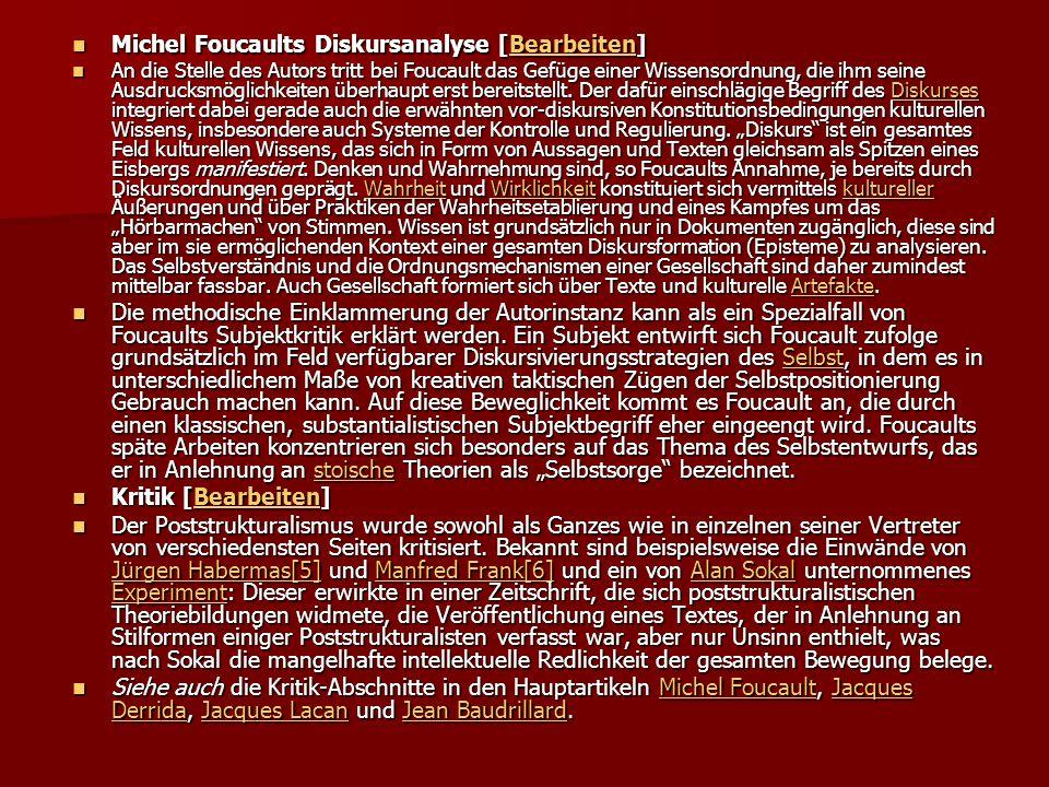 Michel Foucaults Diskursanalyse [Bearbeiten]